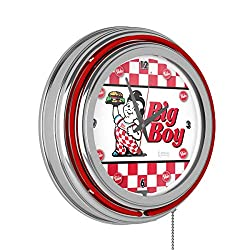BOB'S BIG BOY Checkered Chrome Double Ring Neon Clock