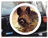 AB3-00186 Wildschwein Keiler Reserveradabdeckung 68x21 cm Reserveradhülle Ersatzradabdeckung Reifencover Radhülle Tasche Überzieher Schutz aus Planenmaterial und Kunstleder 26 1/2´´ inch