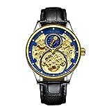 FITYLE Tevise Skeleton Moon Mecánico Automático Cristal Diamante Reloj Joyas para Hombres - Azul Dorado