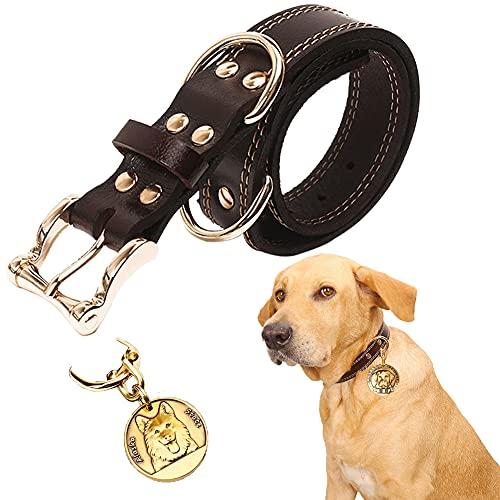 CHMEYUN Collar Perro, Collar de Perro Acolchado de Cuero, Tacto Suave de Piel Auténtica, Ajustable, Perros Pequeños, Medianos, Marrón