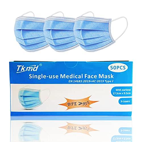 Mundschutz OP Maske Atemschutz 3-Lagig TYP I BFE 95% Gesichtsmaske Medizinische Schutzmaske 50St./Box