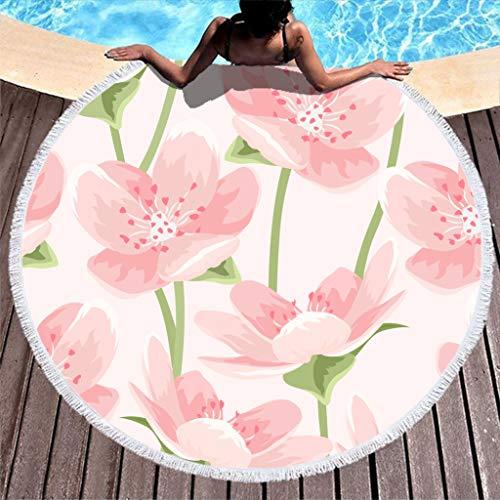 Gamoii Rundes Strandtuch Badetuch Rosa Blume Pflanze Picknickdecken Strandmatte Mikrofaser Handtücher Sandfrei Reisehandtuch mit Fransen für Damen Herren Fitness & Sport