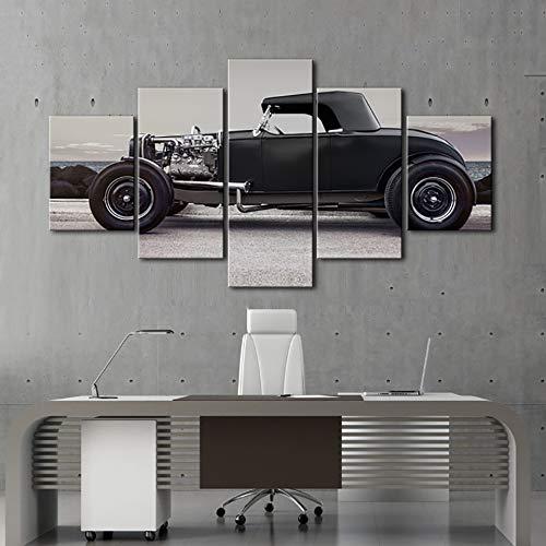 PEJHQY Wandkunst Bilder HD gedruckt Home Decoration Poster 5 PiecePcs Schwarz Altes Auto Moderne Malerei Auf Leinwand Rahmen Wohnzimmer,leinwanddruck Alpen