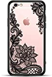 Apple (iPhone 6S Plus / 6 Plus) Slim Fit Phone Case for Girls Women with Cute Black Flowers Design - Ultra Thin Matte Hard Plastic Case Cover - Protective Hybrid Rubber Bumper - Cool Floral Pattern