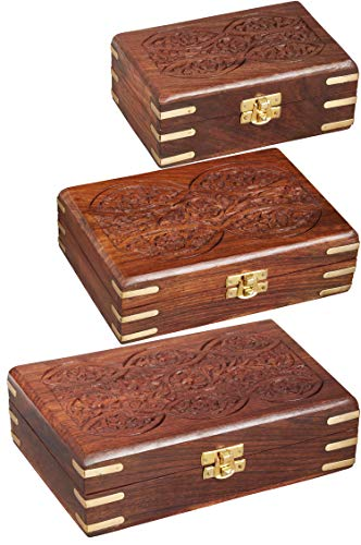 3er SET Orientalische kleine Aufbewahrungsbox mit Deckel Doaa | Orientalischer Schmuckkästchen für Mädchen und Damen zur Schmuckaufbewahrung | Marokkanische Schatulle Box aus Holz