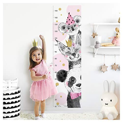 Little Deco Wandtattoo Kinderzimmer Mädchen Messlatte | 150cm Panda Luchs Koala Rosa | Tiere Wandaufkleber Kinder Wandsticker Aufkleber Dekoration DL344