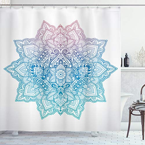 ABAKUHAUS Blatt Duschvorhang, Paisley Motiv Bohem Art, mit 12 Ringe Set Wasserdicht Stielvoll Modern Farbfest & Schimmel Resistent, 175x180 cm, Hellblau Lila