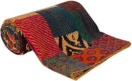 Indische handgemachte Block Print Patch Work Kantha Quilt Decke Tagesdecke Patch Kantha Throw Hippie Ethnische Kantha Rallyes Bohemian Sari Patchwork Bettdecke (Yellow Patchwork, 90