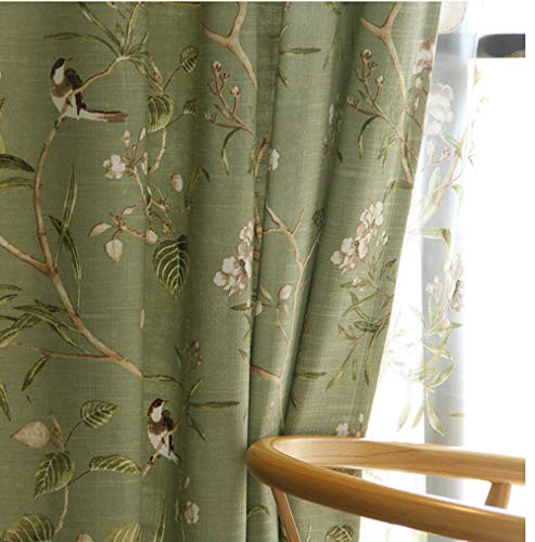 pureaqu Birds Floral Pattern Curtain Panels Grommet Top Curtains for Living Room Printed Country Vintage Style Bedroom Window Drapes for Dining Room Kitchen 1 Panel Green W52 x H84 Inch