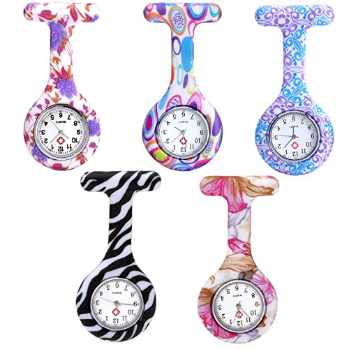 JSDDE Uhren Krankenschwesteruhr Set Pulsuhr FOB Uhr Pflegeruhr Ansteckuhr Silikon Hülle Schwesternuhr Damenuhr Brosche Taschenuhr Analoge Quarzuhr (5 Stück Set (1))