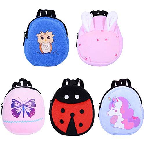 ebuddy 5pcs Cartoon Style Mini School Backpack Doll Bag Accessories for 12-18 inch Dolls
