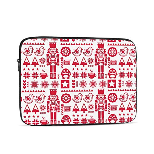 KXT Christmas Red Nutcracker Laptop Sleeve Case,Briefcase Cover Protective Bag,Ultrabook Netbook Carrying Handbag for Women Men