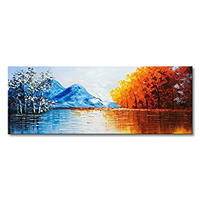 Hand Painted Landscape Oil Painting on Canvas Textured Lake Scenery Wall Art Modern Artwork from Winpeak Art