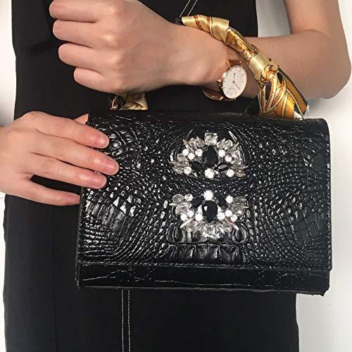 Weichuang Bolso de mano para mujer de cristal de cocodrilo, hermoso y encantador bolso de mano de un solo hombro, bolso de cocodrilo rectangular maleta bolsos de mujer (color: C)