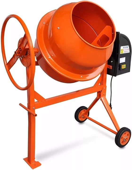 Betoniera calcestruzzo elettrica 140l 650w acciaio arancio miscelatore vidaxl 141165