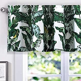 DriftAway Tropical Banana Leaves Botanical Pattern Lined Thermal Insulated Energy Saving Window Curtain Valance for Living Room 2 Layers Rod Pocket 52 Inch by 18 Inch Plus 2 Inch Header Green