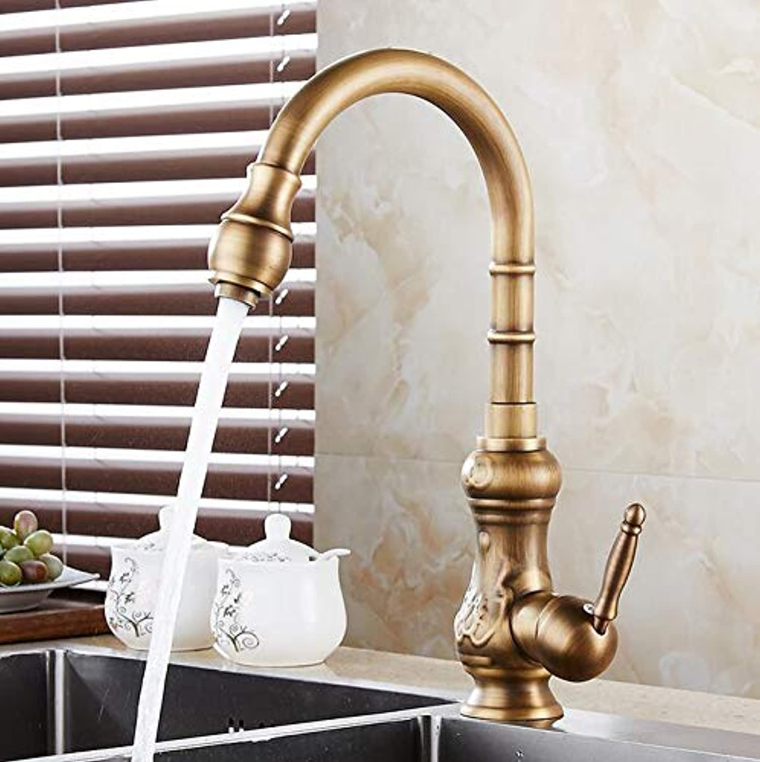 Mkkwp Kitchen Sink Faucets Solid Brass Antique Bronze Single Handle Kitchen Basin Faucets Deck Mounted Hot&Cold Water Mix Tap