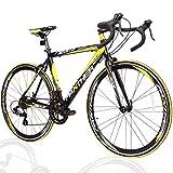 PANTHER (パンサー) ロードバイク 多色/3サイズ選択可 シマノ14段変速装備 STIデュアルコントロール 超軽量異型アルミフレーム 700C×25C 適応身長160cm以上 前後クイックリリース搭載 ドロップハンドル コスパ最強モデル メーカー保証1年 (Black(ブラック)/Yellow(イエロー), 500mm(L))