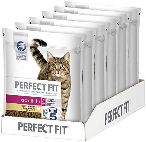 Perfect Fit Adult 1+ – Trockenfutter für erwachsene Katzen ab 1 Jahr – Reich an Huhn – Unterstützt die Vitalität – 6 x 750 g