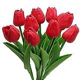 Tulipani Artificiali, 10 Pezzi di Fiori di Tulipani in Seta Artificiale, Mazzi di Tulipani Finti Rosa Chiaro / Rossi / Bianchi per Matrimoni Interni ed Esterni, Decorazioni per Feste (Rosso)