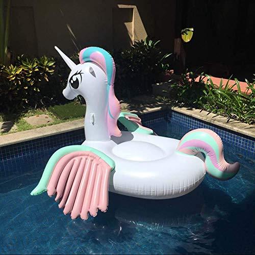 Elegante Juguete de Piscina Inflable Flotador de Piscina Color Inflable Unicornio de Doble ala PVC Agua Inflable Montura de Unicornio Fila Flotante