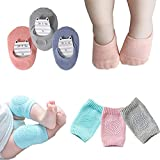 Baby Crawling Anti-Slip Knee Pads and Anti Slip Baby Socks Best Infant Gift,Unisex Baby Toddlers Kneepads 3 Pairs, Soft Cotton Boys Girls Grip Crawling Socks 3 Pairs