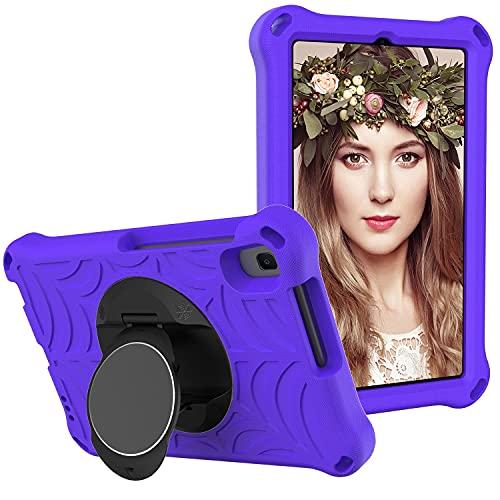 YIU Funda para tablet Huawei Mediapad M5 Lite de 8 pulgadas, a prueba de golpes, con soporte giratorio ligero y duradero, correa para el hombro (color purper)