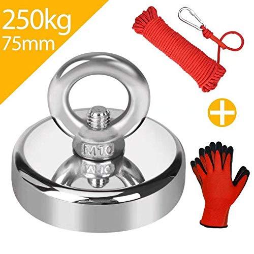 Jewan 250KG Haftkraft Neodym Ösenmagnet Magnete mit 20m Seil und ein Paar Handschuhe, N52 Super Stark Magnet Perfekt zum Magnet Angel Magnetfischen - Ø 75mm mit Öse Neodymium Topfmagnet