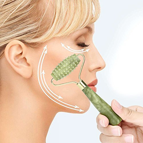 Natural Facial Beauty Massage Tool,Facial Massage Jade Roller Face Body Head Neck Nature Beauty Device- Rejuvenate Skin & Remove Wrinkles (14.5cm, 5.8cm, Green)