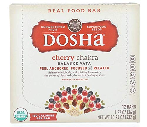 Dosha Bar, Cherry Chakra, Made with Unsweetened Fruit & Seeds, Organic Free of Gluten, Dairy, Soy, Paleo, Vegan, 1.27 Ounce Bars, 12 Count