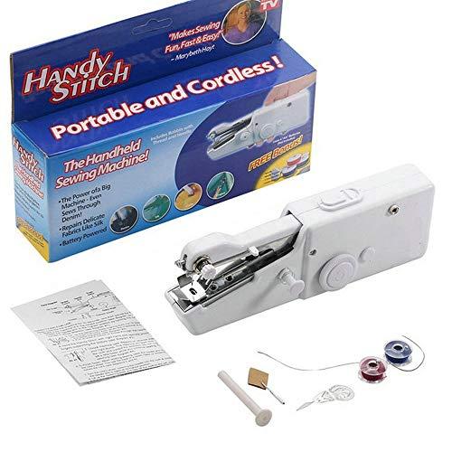 Decdeal Mini máquina de coser a mano eléctrica portátil reparación rápida adecuada para cortinas de viaje de tela de viaje