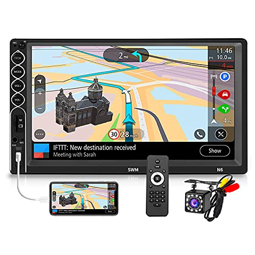 Double Din Car Stereo 7 Inch Touchscreen Radio with 12-LED Backup Camera, 2 Din Audio Receiver MP5/4/3 Player with Bluetooth Hands-Free, Phone Mirror Link, USB/TF/AUX Port, Remote Control