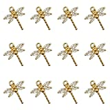 SYBKED 12 Pcs Unique Golden Diamond Mini Dragonfly Pendant Insect Shape Charm Jewelry DIY Decoration Handmade Necklace Bracelet Anklet Earrings Keychain Choker Crafts