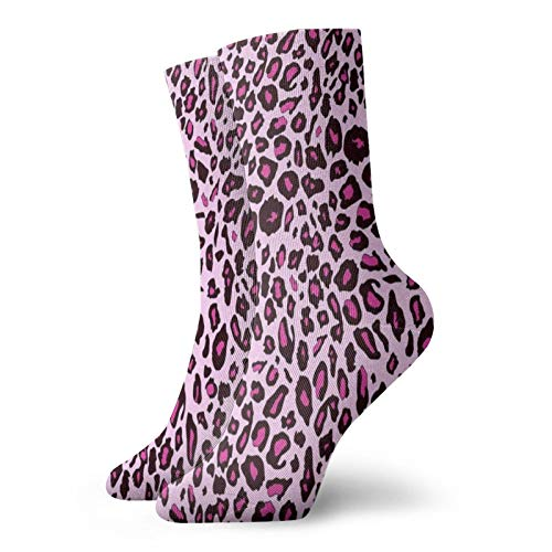 Homemates Pink Leopard Pattern Men's woman Athletic Socks Breathable Performance Multi Wicking Workout Sports Socks for Outdoor Recreation Trekking Climbing Camping Hiking