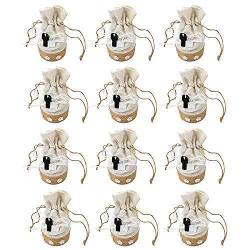 12 Bolsas de Arpillera Lino Bolsitas de Boda,de caramelos,joyas con cordones,Ideal para Regalo,Comunión,Detalles Para Invitadas-Redondo Cinta