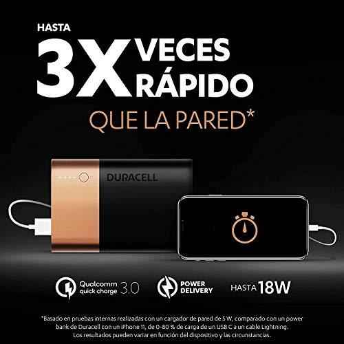 Duracell Powerbank de 6700 mAh, Bateria Externa movil con USB C y Carga rápida IN/OUT, Power Delivery 18W y Quick Charge 3.0 para Iphone, Samsung, Xiaomi y Dispositivos con alimentación USB