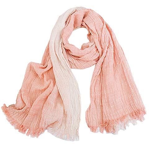 Vobony Fular De Mujer Moda Pañuelo de Seda 100% Algodon Retro Pliegues Señoras Mantón Bufanda Protección Solar Pañuelo Cuello Chals Estolas