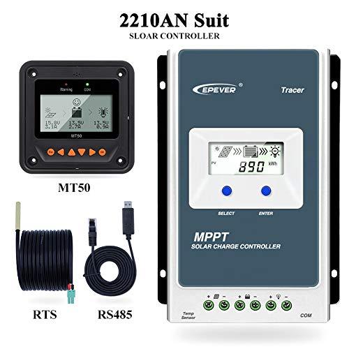 Contrôleur de charge solaire Qaurora MPPT Tracer A Series 10A/20A/30A/40A avec 12V/24V DC Identification automatique de la tension du système(20A+MT50)