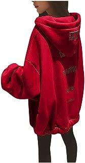 Women Hoodies Sweatshirt Coat, Ladies Loose Large Size Zipper Letter Print Long Sleeve Tops