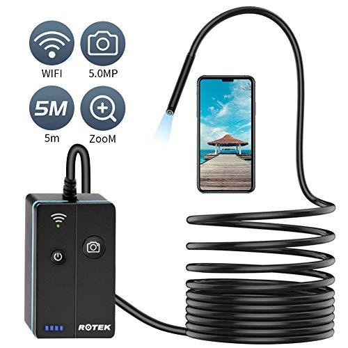 Rotek Endoscopio Inalámbrico, 7MM 5.0 Megapíxeles HD WiFi USB IP68 Camara Inspeccion Boroscopio Movil Portatil con 8 Luces LED para iPhone iOS Android Smartphone Tableta- 5M
