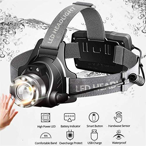 GZJ hoofdlamp, oplaadbaar, met inductie-sensor, led-zaklamp voor lopen, wandelen, fietsen, vissen, kamperen