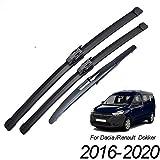 HZHAOWEI , Para limpiaparabrisas Traseros Delanteros, para Renault Dacia Dokker 2016 2017 2018 2019 2020 Parabrisas Parabrisas Delantero 22'16' 10'