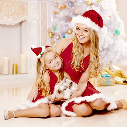 Damen Weihnachtskleid Mommy Me Family Passendes Kleid Rot Ärmellos V-Ausschnitt Bandge Kleid Xmas...