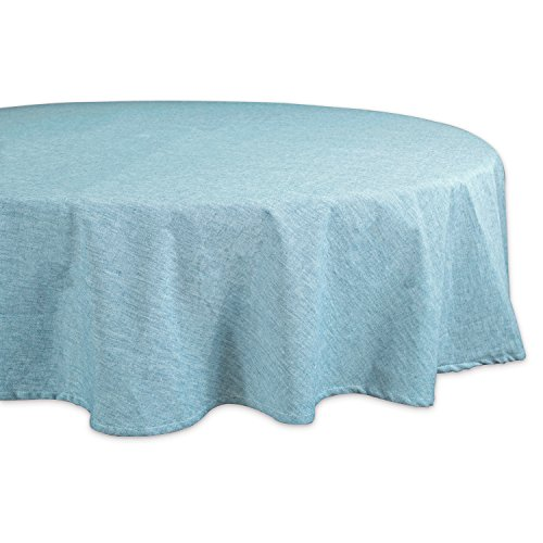 """DII Cotton Chambray Pastel Tablecloth for Spring & Summer with a Denim Woven Look, Use for Family Meals or Gatherings, Weddings, Brunch, Catering Events, or Parties (70"""" Round, Seats 4-6 People), Aqua"""