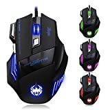 AFUNTA Zelotes Ergonomic 7200 DPI LED Optical Wired Gaming Mouse Mice 7 Buttons Compatible Mac Pro Gamer PC Laptop Desktop Notebook-Black Black(T80)