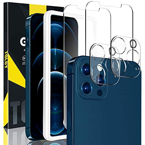 """[4 Pack] TQLGY Screen Protector for iPhone 12 / iPhone 12 Pro 6.1"""" 2020, 9H Hardness Tempered Glass for iPhone 12 / iPhone 12 Pro 6.1 - inch [Easy Installation Frame] HD Clear, Case Friendly, Anti-Scratch"""