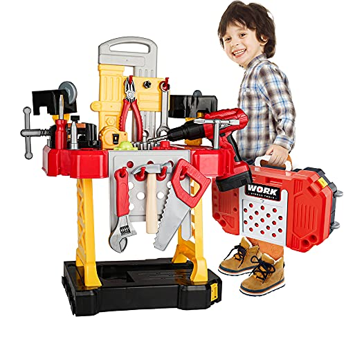 Toy Choi's 83 Pieces Kids Construction Toy Workbench for Toddlers Kids Workbench Construction Tool Bench Set, Boys Toy Work Shop Tools Workbench for Toddlers