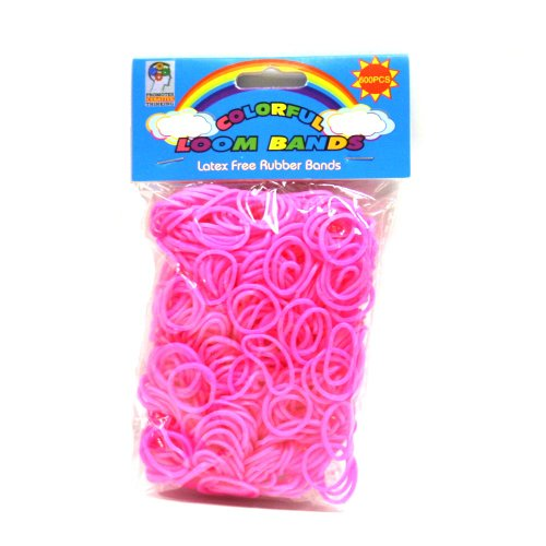 Loom Bandz - Rainbow Colours - Pink 600 Count With Clips