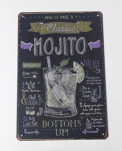 Topdo 1pcs Poster Métallique Affiche Peinture Art Décoratif Vintage pour Bar Café Pub Vintage Poster Mural rétro Plaque en métal Bar Pub 20X30CM Mojito
