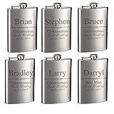 Top Shelf Flasks Personalized Custom Engraved 8oz Stainless Steel Groomsman Gift Flasks for Weddings, True Metal Etching Lasts a Lifetime, Set of 6